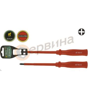 Професионална кръстата отвертка изолирана PH1x80mm TROY T221