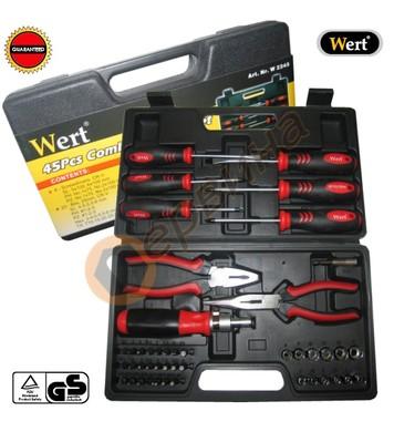 Комплект отвертки с клещи, вложки и битове 45части Wert W224