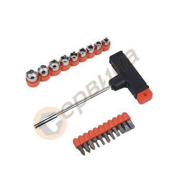 Т-образна ръкохватка с вложки и накрайници   22 части  Manne