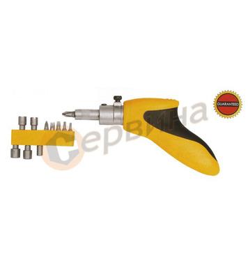 Пистолетообразна тресчотка с накрайници 11бр. WERT W2247