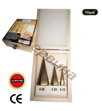 Комплект стъпаловидни-конусовидни свредла за ламарина WERT W
