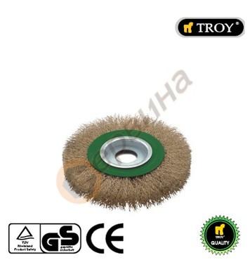 Телена четка за ъглошлайф тип кръгла 125мм TROY - T27704-125