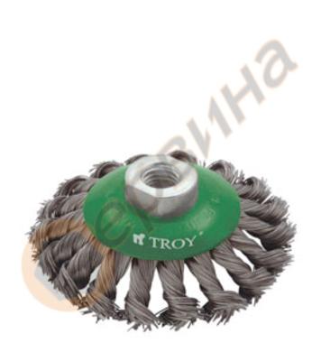 Конусна плетена телена четка 100мм TROY - T27705-100