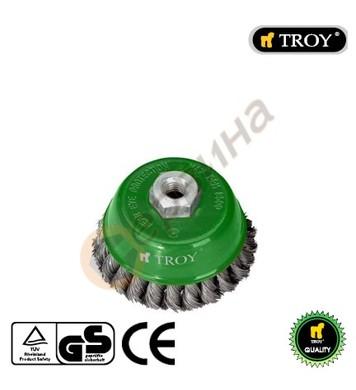 Плетена телена четка тип камбана 100мм TROY - T27707-100