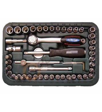 Комплект тресчотка с вложки и накрайници 1/4 49бр. Mannesman
