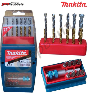 Комплект свредла и битове 21 части Makita P-57087
