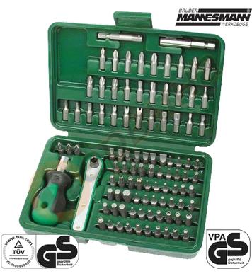 Комплект ръкохватка и тресчотка с накрайници Mannesmann M298