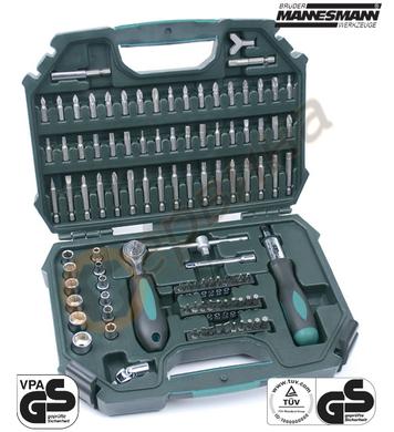 Комплект ръкохватка и тресчотка с накрайници Mannesmann M118