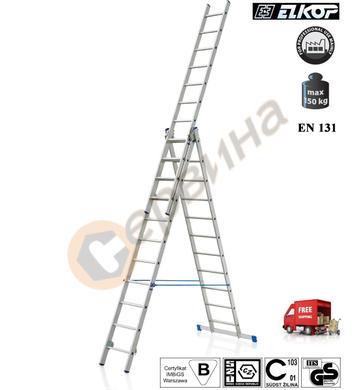 Алуминиева трираменна стълба Elkop VHR H - 3x11бр