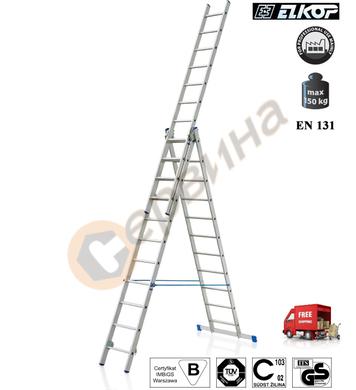 Алуминиева трираменна стълба Elkop VHR P - 3x16бр