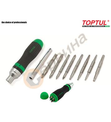 Тресчота ръкохватка с накрайници Toptul GAAR1002 - 19 части