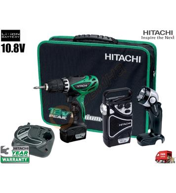 Акумулаторен винтоверт с лампа и радио Hitachi KC10DHL - 10.