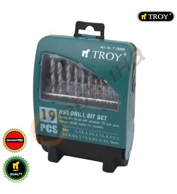 Комплект свредла за метал HSS TROY T35000 - 19бр
