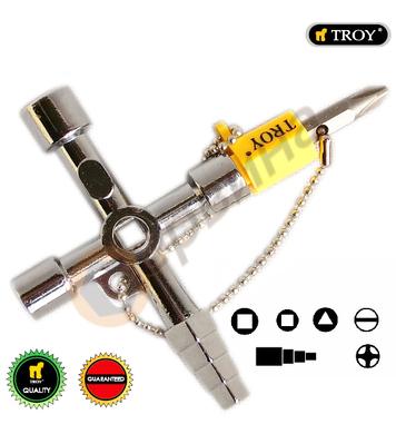 Кръстат ключ за електрически кутии TROY T24014 - 7 в 1