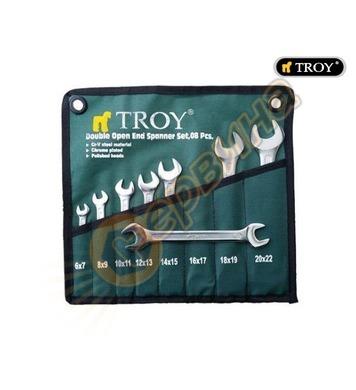 Комплект професионални ключове CrV DIN3110 Troy T21508 - 8бр