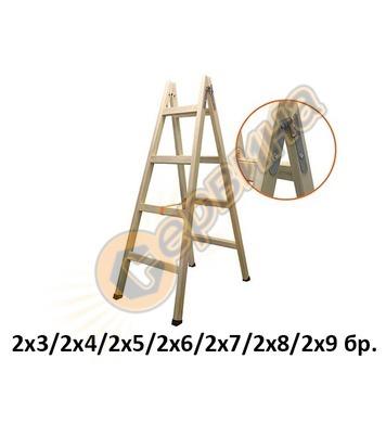 Дървена стълба двураменна 2х3бр Vakas 31030001 - 1.30 метра