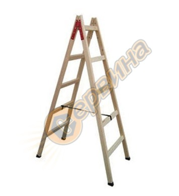 Дървена стълба двураменна 2х5бр Vakas 31030003 - 1.75 метра