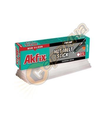 Силиконови пръчки за топло лепене Akfix HM208 - 10бр/1кг ф8-