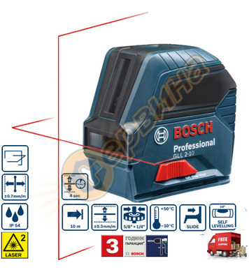 Линеен лазерен нивелир Bosch Gll 2-10 0601063L00 - 10 метра