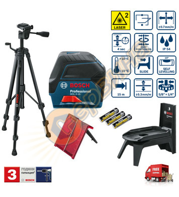 Линеен лазерен нивелир Bosch GCL 2-15 06159940FV - 15м