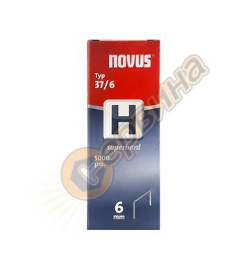 Кламер от тънка тел супер твърди Novus H тип 37/6мм 5000бр к