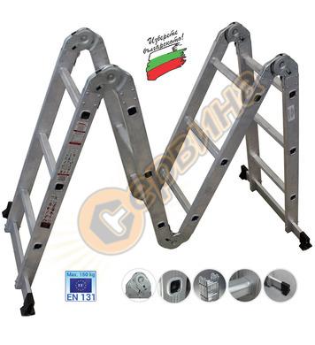 Сгъваема алуминиева стълба - акробат 4 части АронБГ MH404 -