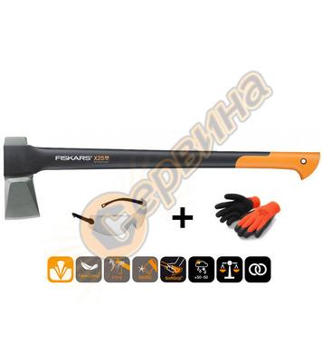 Комплект брадва за цепене Fiskars X25 1001686 + Предпазни оч