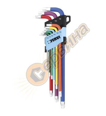 Комплект Г-образни ключове тип торкс 9бр Fervi Torx TX 0545/