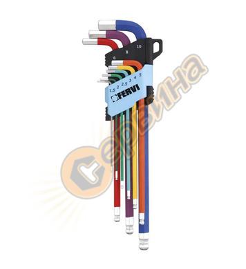 Комплект Г-образни ключове със сфера 9бр Fervi LONG HEX 0545