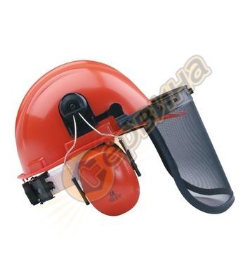 Защитна каска с външни антифони и предпазна мрежа Ausonia AU