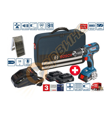 Акумулаторен пробивен винтоверт Bosch GSR 18-2-LI Plus 06019