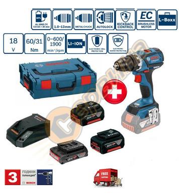 Акумулаторен винтоверт Bosch GSR 18V-EC 0615990H8K +  2 бате