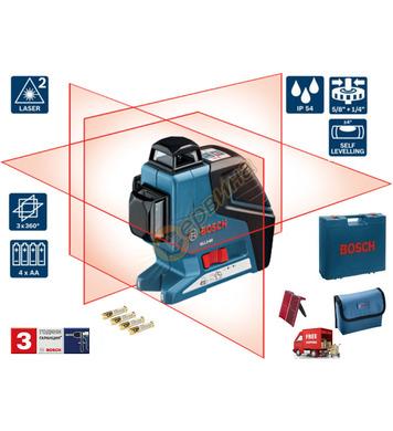 Линеен лазерен нивелир Bosch GLL 3-80 0601063S00 + Приемник