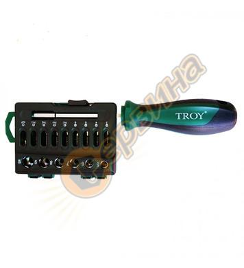 Комплект Ръкохватка с битове и вложки Troy T22316  16 бр.