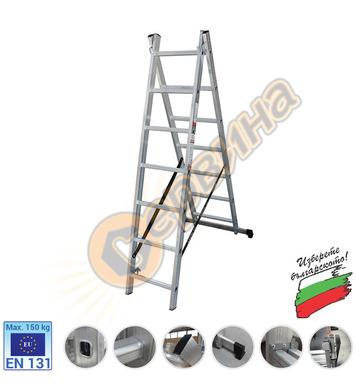 Професионална двураменна алуминиева стълба АронБг AL CH207 0