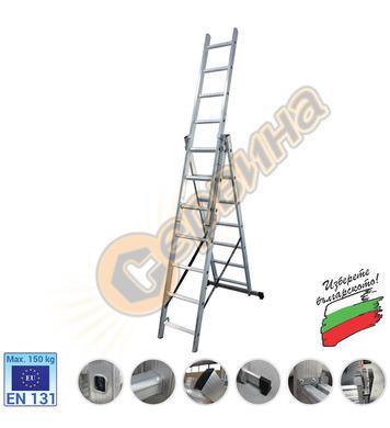 Професионална трираменна алуминиева стълба АронБг AL CH308 0