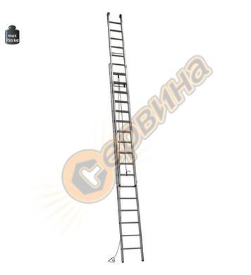Професионална двураменна алуминиева стълба с въже Alpos Expe