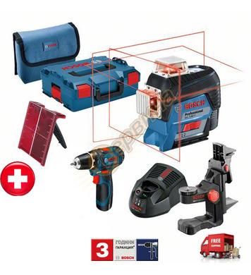 Линеен лазерен нивелир Bosch GLL 3-80 C 06159940L4 + Акумула
