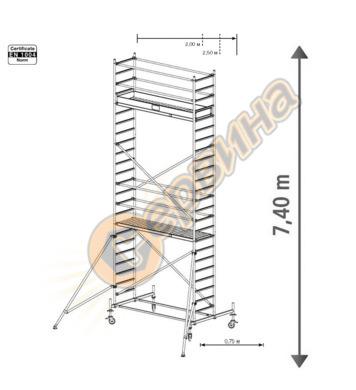Подвижно алуминиево скеле Krause Stabilo 10 731340 - 7.40 м