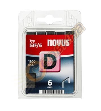 Кламер от плоска тел Novus D тип 53F/6мм 1200бр блистер 042-