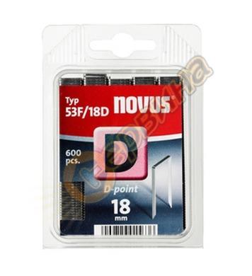 Кламер от плоска тел с D-връх Novus D тип 53F-D/18мм 600бр б
