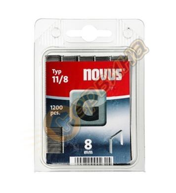 Кламер от плоска тел Novus G тип 11/8мм 1200бр блистер 042-0