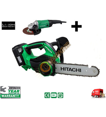Акумулаторен верижен трион Hitachi CS36DL-WB + Ъглошлайф Hit