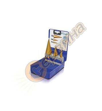 Комплект стъпаловидни-конусовидни свредла за ламарина Erba E