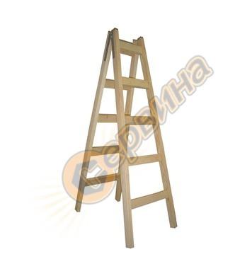 Дървена стълба двураменна Еко 2х5бр 03030005 - 1.50 м