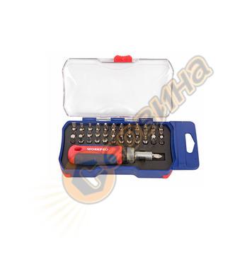 Комплект тресчота ръкохватка с битове Workpro 38 части  W021