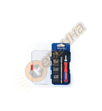 Комплект тресчота ръкохватка с битове Workpro 18 части W0211