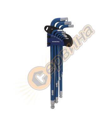 Комплект шестограмни ключове с дълго рамо Workpro 9 броя W02