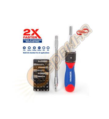 Комплект тресчота ръкохватка Workpro  Dual-drive с накрайниц