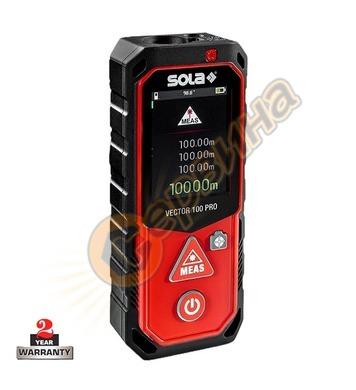 Противоударна лазерна ролетка с LCD дисплей Sola Vector 100